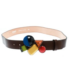 Dsquared2 Brown Leather Buckle Embellished Belt Size 95 CM