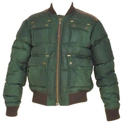 Dsquared2 green leather wool bomber jacket