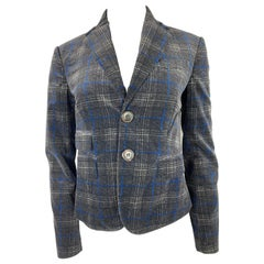 Dsquared2 Grey and Blue Velvet Check Plaid Blazer Jacket, Size 42