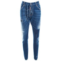 Dsquared2 Indigo Distressed Faded Effect Denim Ruffled Tapered Jeans L