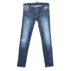 Dsquared2 Indigo Distressed Splatter Effect Denim Skinny Jeans S