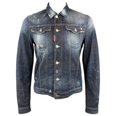 DSQUARED2 L Blue Washed Distressed Paint Splatter Denim Trucker Jacket