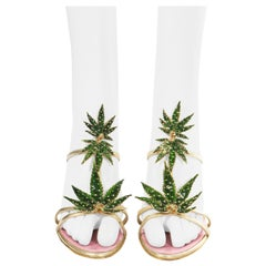 Dsquared2 marijuana leaf gold leather sandals, ss 2005