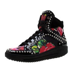 Dsquared2 Multicolor Floral Patent Leather Studded High Top Sneakers Size 38