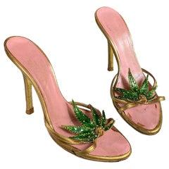 Dsquared2 S/S 2005 Marijuana Leaf Gold Sandals