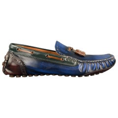 DSQUARED2 Size 10 Blue Antique Leather Drivers Loafers