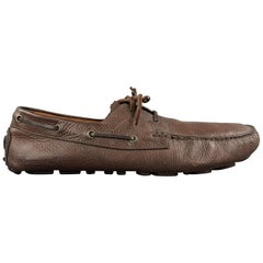 DSQUARED2 Size 10 Brown Leather Driver Sole Loafers