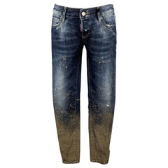 DSQUARED2 Size 2 Blue Cotton Paint Splattered Cuff Zipper Five Pockets Jeans
