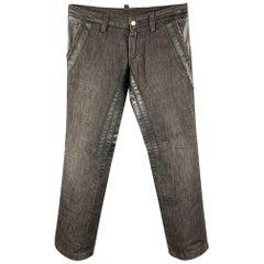 DSQUARED2 Size 32 Black Cotton & Leather Burner Jeans
