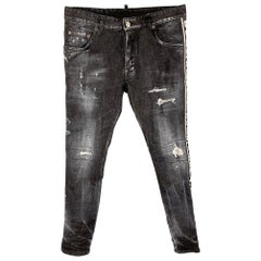 DSQUARED2 Size 32 Black Distressed Denim Button Fly Skater Jeans