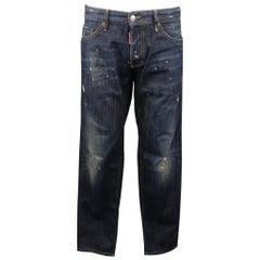 DSQUARED2 Size 34 Indigo Distressed Denim Jeans