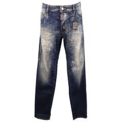 DSQUARED2 Size 34 Indigo Painted Denim Jeans