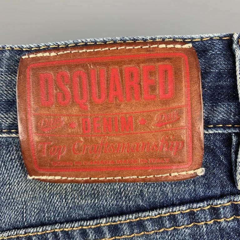 Gray DSQUARED2 Size 34 Indigo Wash Cotton Button Fly Shorts