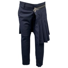 DSQUARED2 Size 34 Navy Wool Cropped Pleated Overlay Casual Pants