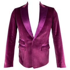 DSQUARED2 Size 36 Magenta Solid Cotton Velvet Peak Lapel Sport Coat