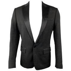 DSQUARED2 Size 40 Black Wool Blend Satin Peak Lapel Tuxedo Jacket