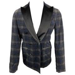 DSQUARED2 Size 40 Grey & Black Plaid Velvet Peak Lapel Double Breasted Coat