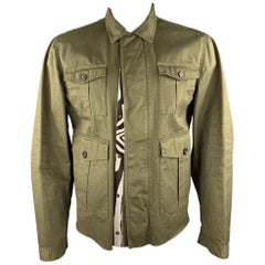 DSQUARED2 Size 44 Olive Cotton Zebra Ponyhair Trim Army Jacket