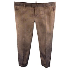 DSQUARED2 Size 8 Brown Jacquard Silk Cropped Dress Pants