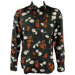 DSQUARED2 Size L Black Floral Cotton Button Up Long Sleeve Shirt