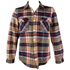 DSQUARED2 Size L Navy & Tan Plaid Wool Patch Pockets Long Sleeve Shirt Jacket