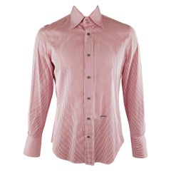 DSQUARED2 Size M Red & White Pinstripe Cotton Button Up Long Sleeve Shirt