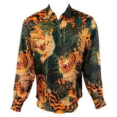 DSQUARED2 Size S Green & Orange Print Silk Button Up Long Sleeve Shirt