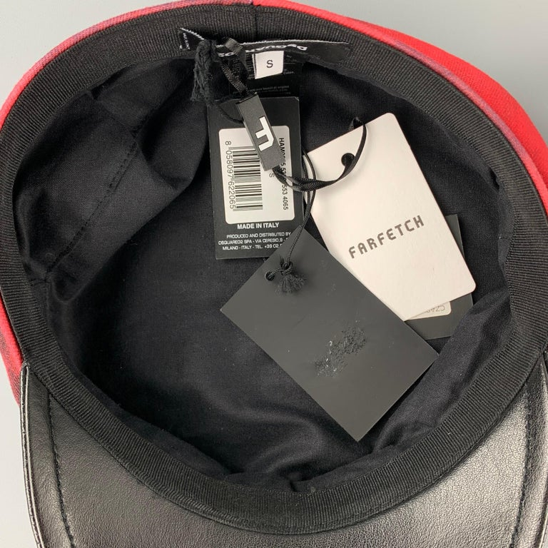 DSQUARED2 Size S Red & Black Cotton Leather Biker Hat In New Condition For Sale In San Francisco, CA