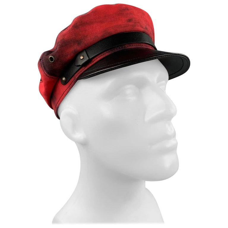 DSQUARED2 Size S Red & Black Cotton Leather Biker Hat For Sale