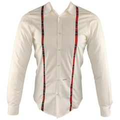 DSQUARED2 Size S White Solid Cotton Button Up Long Sleeve Shirt