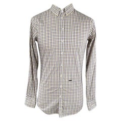 DSQUARED2 Size S Yellow Plaid Cotton Long Sleeve Button Down Shirt