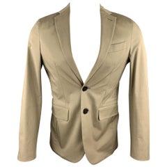DSQUARED2 Size US 36 / IT 46 Taupe Cotton Blend Notch Lapel Sport Coat Jacket