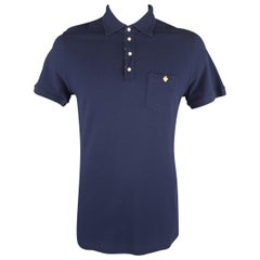 DSQUARED2 Size XXL Navy Cotton Maple Leaf POLO