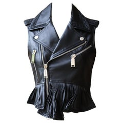 DSquared2 Sleeveless Leather Biker Jacket