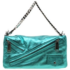 Dsquared2 Teal Metallic Leather Babe Wire Clutch