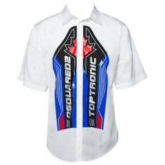 Dsquared2 White Logo Printed Cotton Short Sleeve Oversized Shirt S
