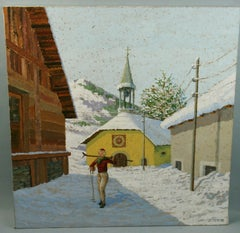 Vintage Skiing in Switzerland Oil on Canvas Off To The Slopes 1970