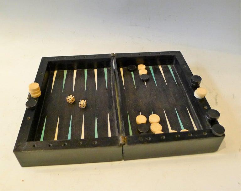 Folk Art Dual Backgamon and Chess Travel Set, 19th Century For Sale