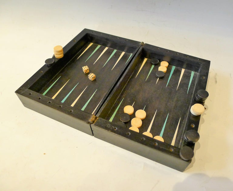 French Dual Backgamon and Chess Travel Set, 19th Century For Sale