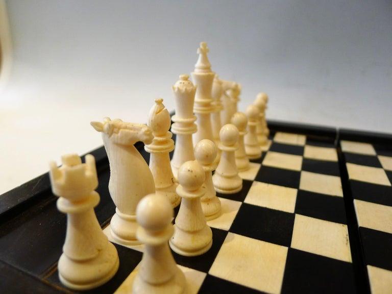 Bone Dual Backgamon and Chess Travel Set, 19th Century For Sale