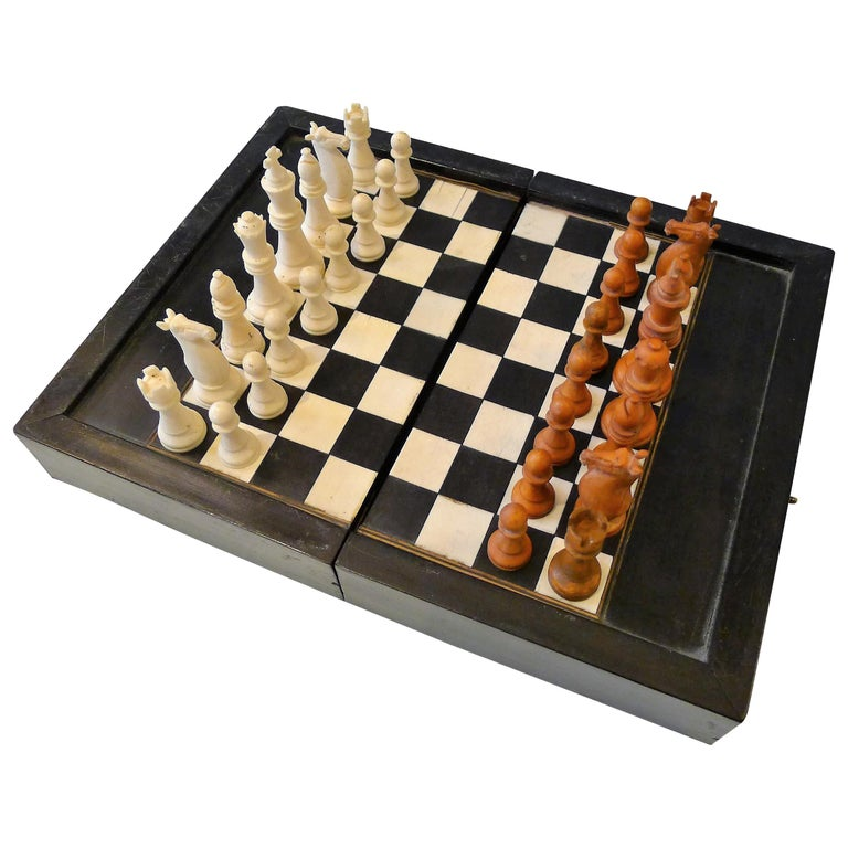 Dual Backgamon and Chess Travel Set, 19th Century For Sale
