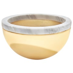 Dual Bowl in Marble & Polished Gold Metal by ANNA new york