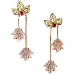 Dual Carved Rose Quartz Earrings with Gold Leaf Work with Ruby