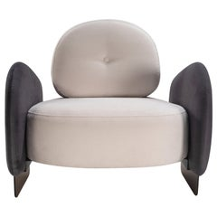 Dual Color Grey and Off-White Armchair, Urban