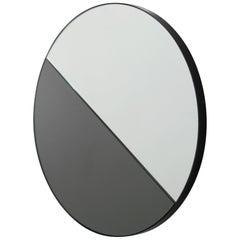 Dual Colour Tinted Dualis Orbis Circular Shaped Mirror Black Frame, Small
