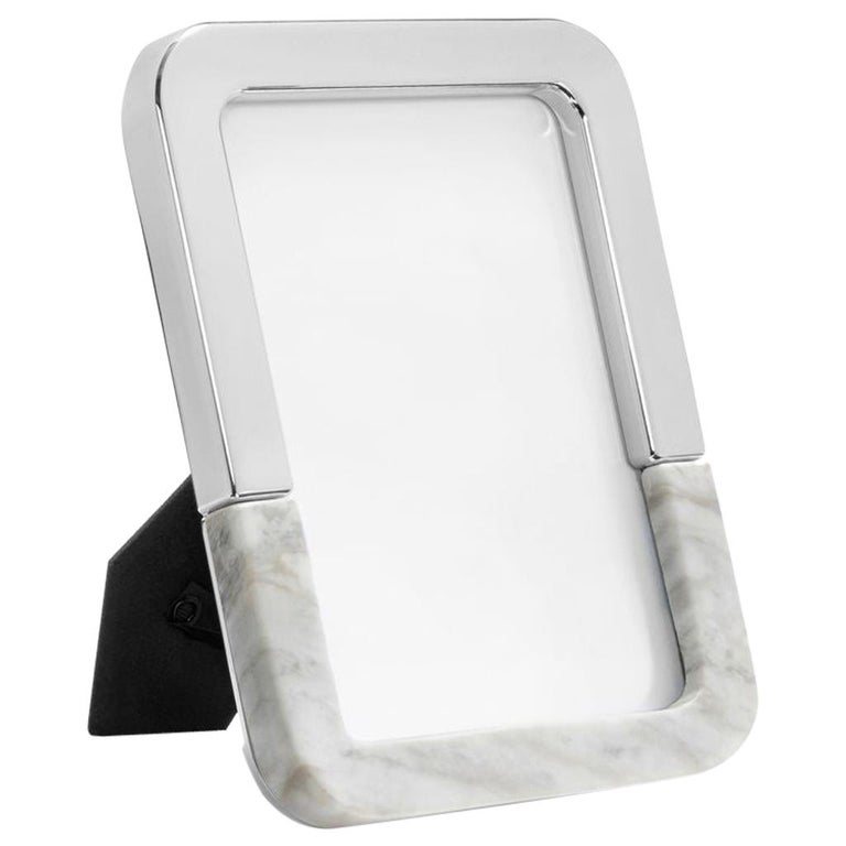 Dual Frame in Carrara Marble and Polished Metal by Anna New York