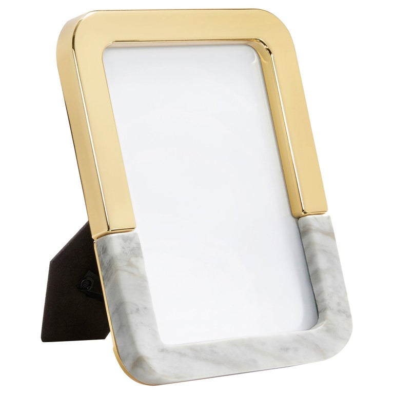 Dual Frame in Marble and Brass by ANNA New York For Sale