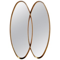 Dual Interlocking Gold Wood Frame Mirror