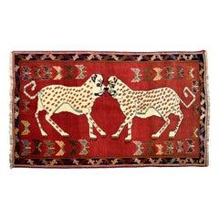 Dual Leopard Hand-Knotted Persian Qashqai Persian Carpet