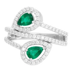 Dual Pear Emerald 14 Karat White Gold Ring